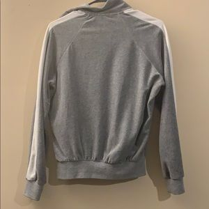 Forever 21 Tops - Grey & White Zip Up Velour Track Jacket
